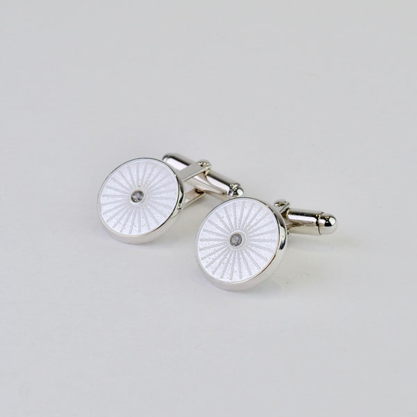 Silver, White Enamel and White Sapphire Cufflinks.