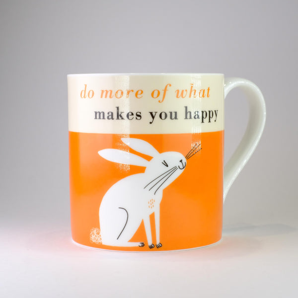 'Do More of what Makes you Happy' Orange Bone China Mug.