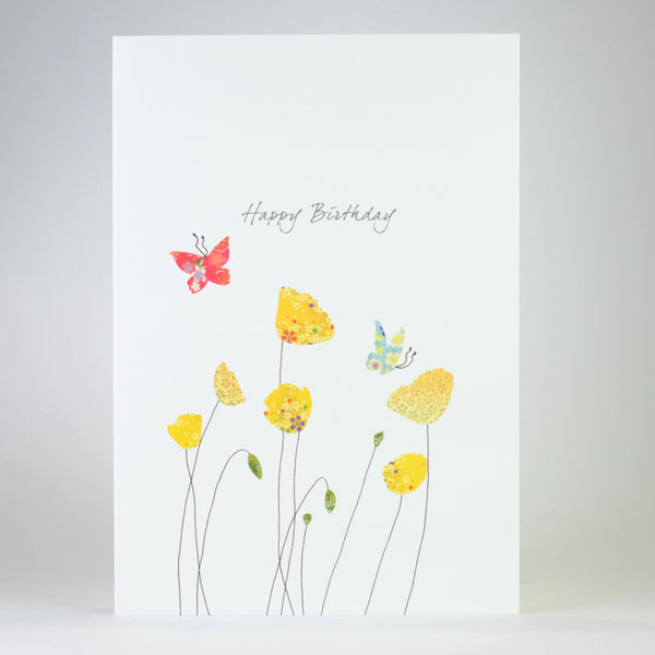 Yellow Poppy Birthday Card.