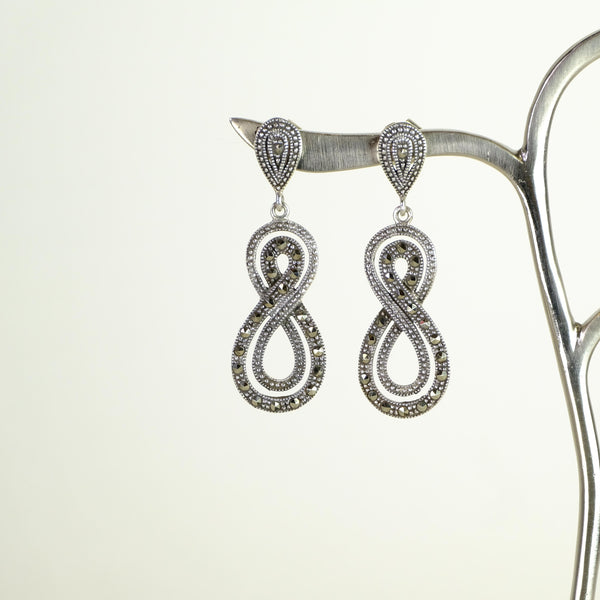 Marcasite and Silver Twist Drop Earrings.