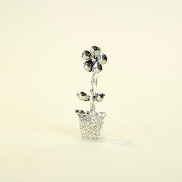 Silver Flower Pot Brooch by JB Designs.