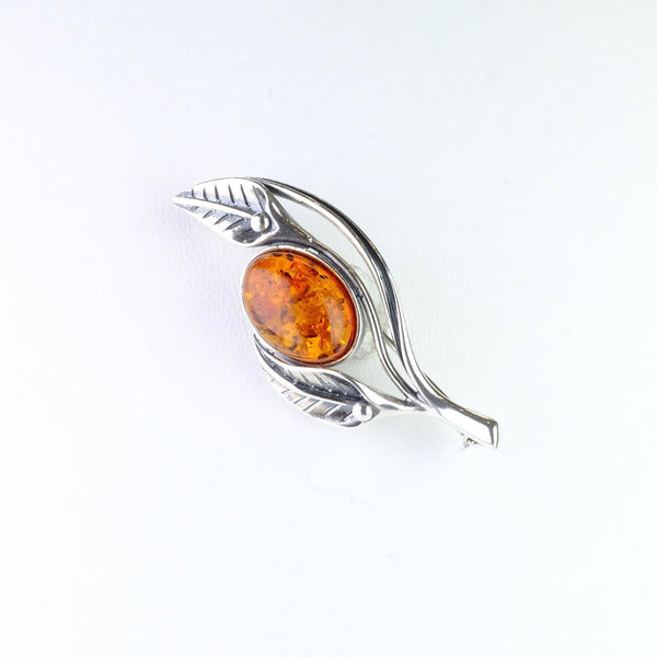 Silver and Amber Leaf Design Brooch.