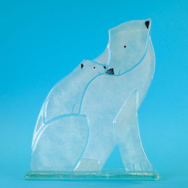 Fused Glass Polar Bear - Mum and Cub.