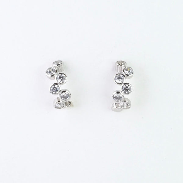 Silver and Cz  Curved Stud Earrings by JB Designs.