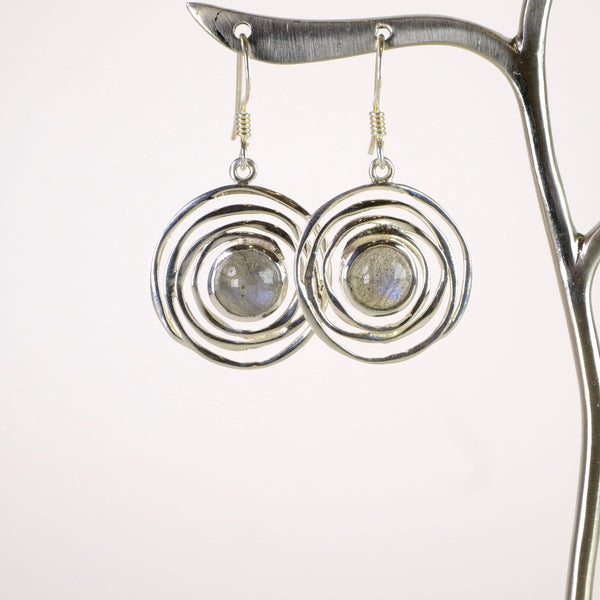 Silver and Rainbow Moonstone Drop Earrings.