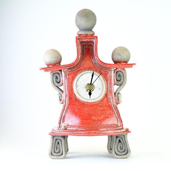 Medium Red Ceramic Clock by Ian Roberts.