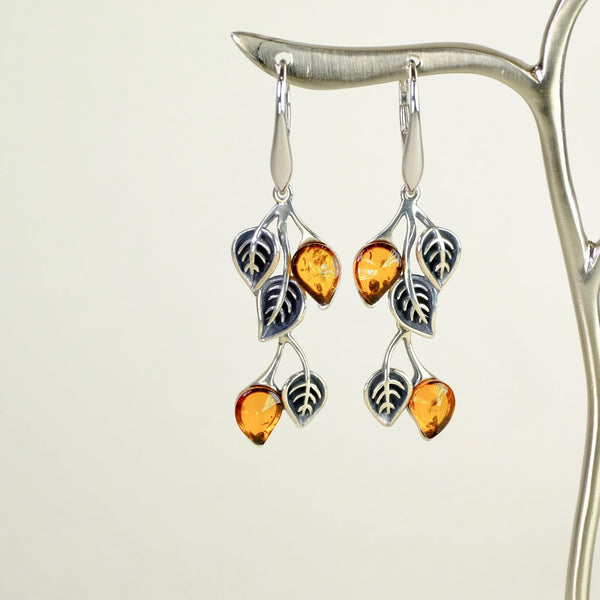 Amber and Silver Leaf Design Earrings.