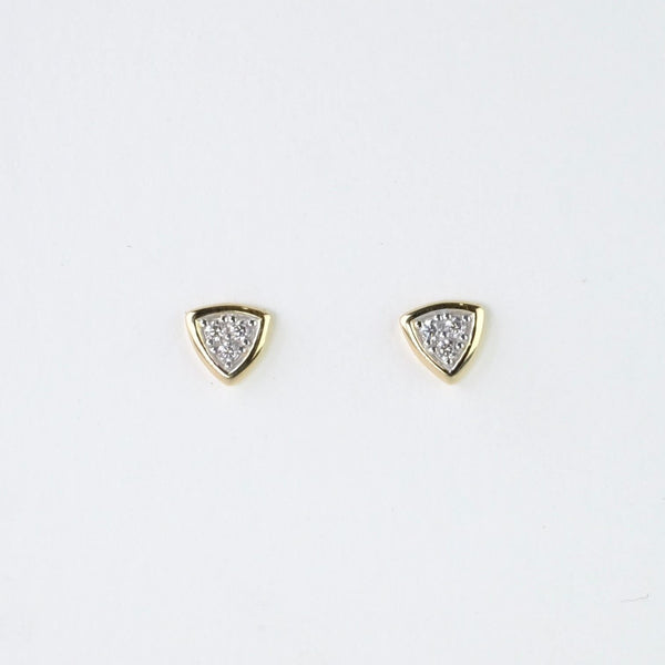 Gold and Cubic Zirconia Triangular Studs.