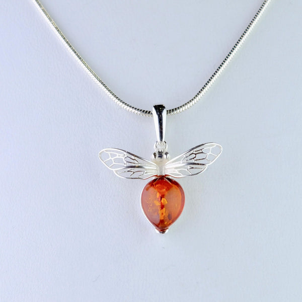 Sterling Silver and Amber Bee Design Pendant.