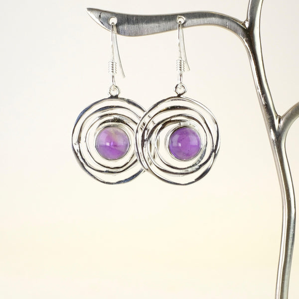 Silver and Amethyst Swirl Drop Earrings