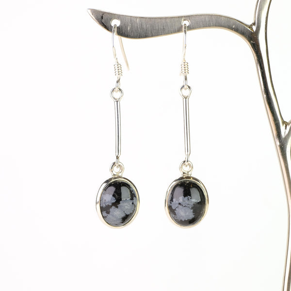Silver and Snowflake Obsidian Drop Earrings.