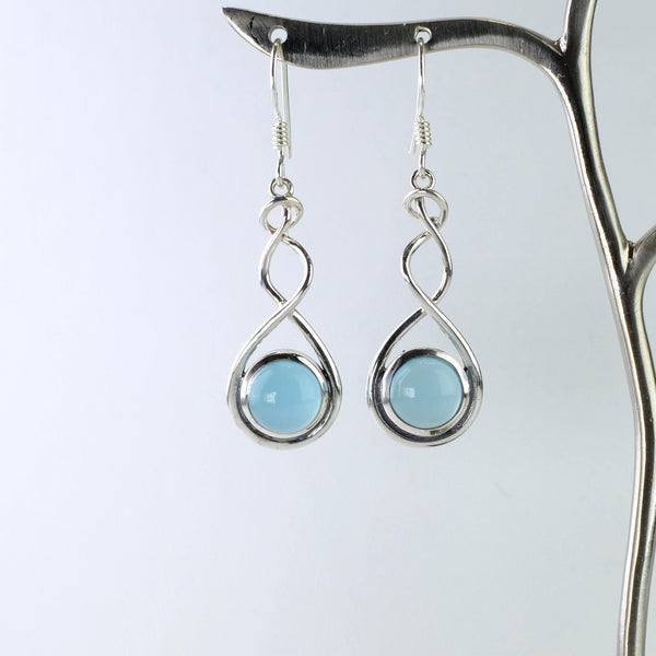 Chalcedony and Silver Drop Earrings.