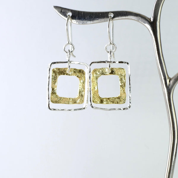Handmade Textured Silver and Gold Plated Geometric Earrings by JB Designs.