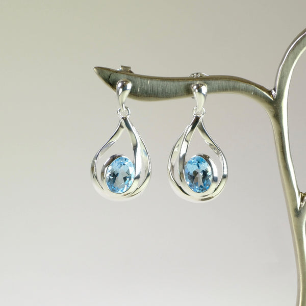 Blue Topaz and Silver Earrings.