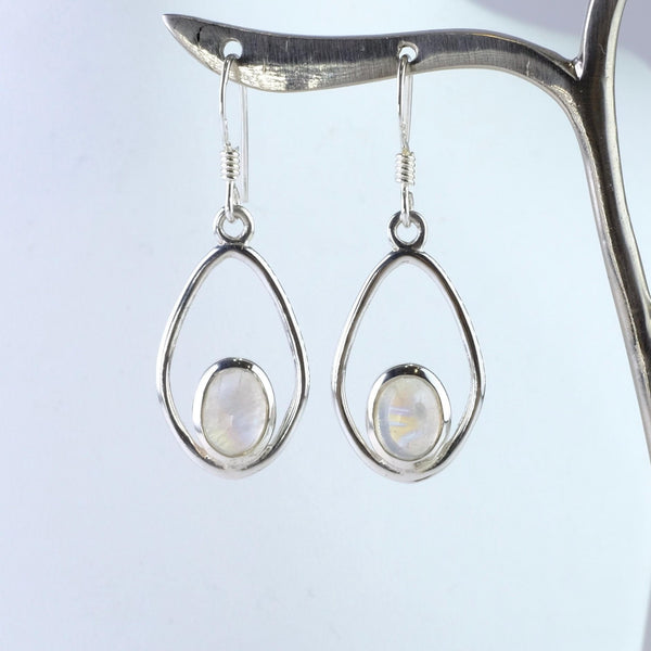 Tear Drop Silver and Rainbow Moonstone Earrings.