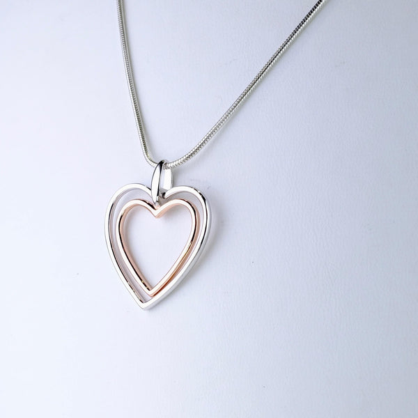 Silver and Rose Gold Plated Heart Pendant by JB Designs.