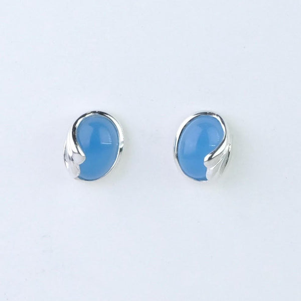 Chalcedony and Silver Stud Earrings.