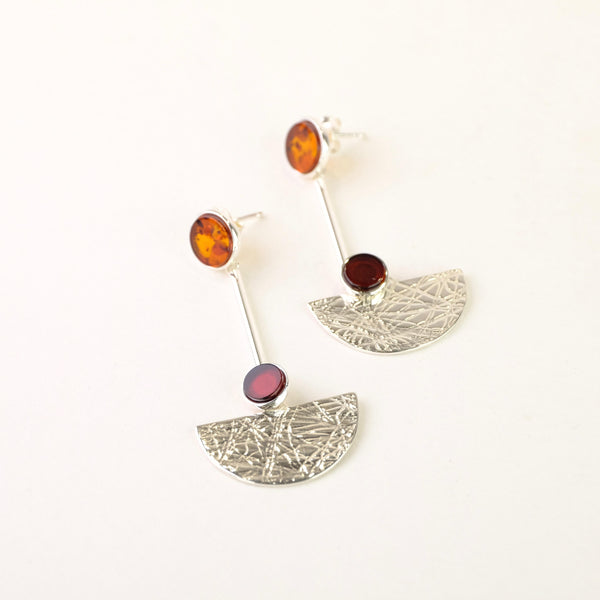 Art Deco Style Amber and Silver Earrings.