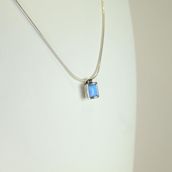 Square Silver and Opal Pendant.