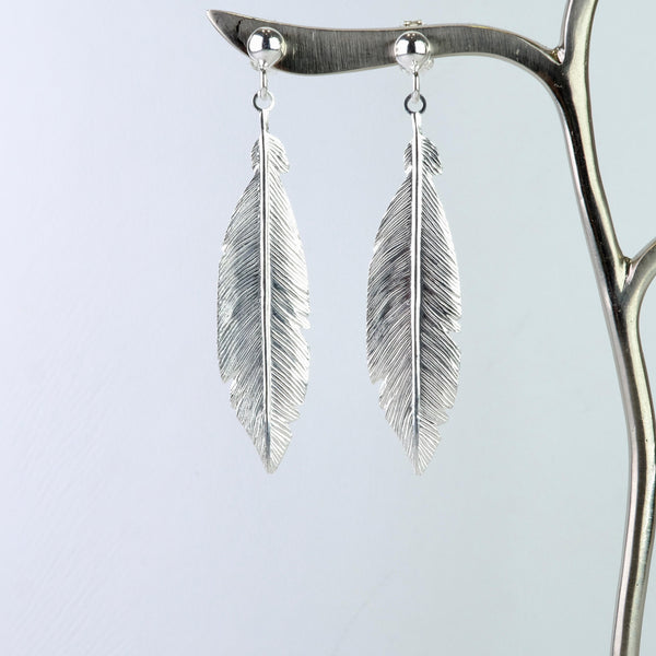 Satin Silver Feather Earrings by JB Designs.