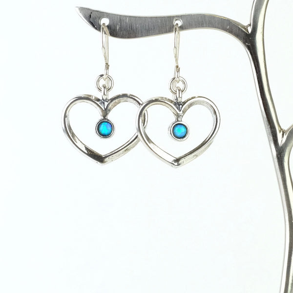 Opal and Silver Heart Earrings.