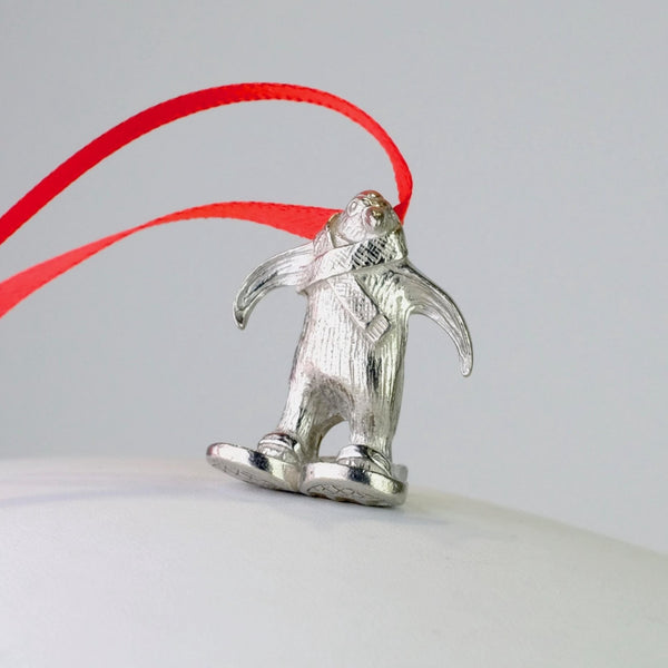 Pewter Penguin in Snow Shoes Christmas Decoration.