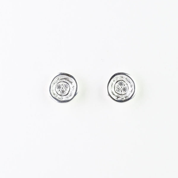 Silver and Cz Stud Earrings by JB Designs.