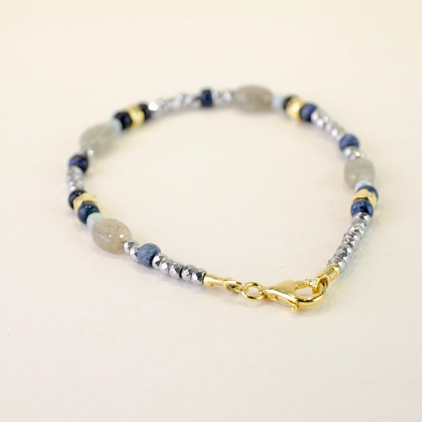 Lapis, Labradorite and Larimar Beaded Bracelet.