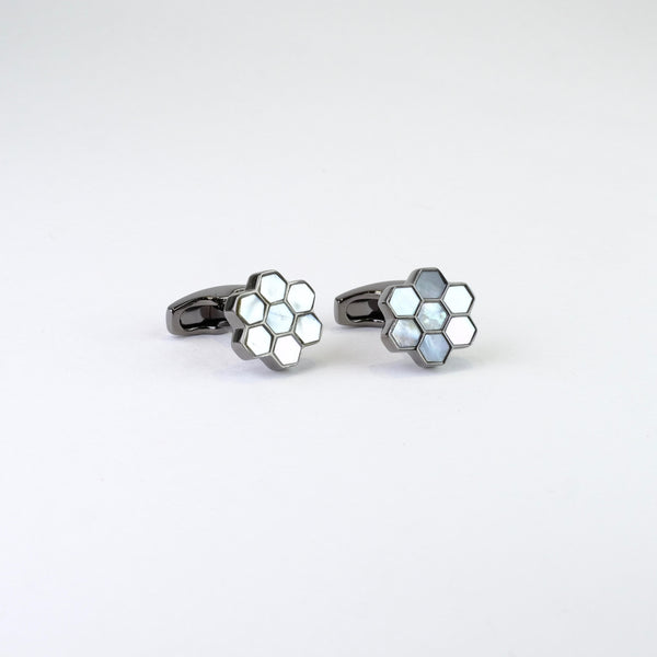 Mother of Pearl Honeycomb Design Cufflinks.