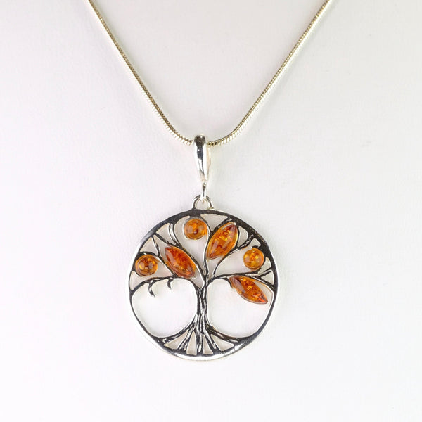 Amber and Silver 'Tree of Life' Pendant.