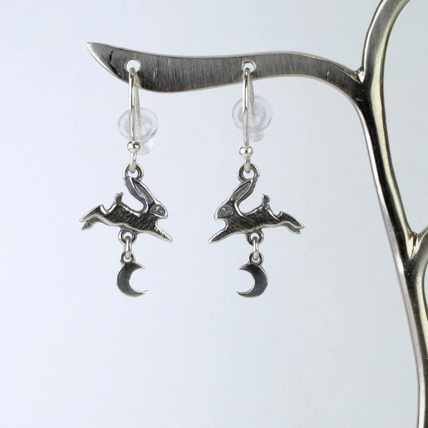 Handmade Silver 'Hare and Moon' Earrings by Nick Hubbard.