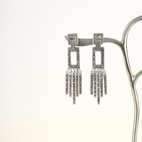 Art Deco Style Marcasite and Silver Drop Earrings.