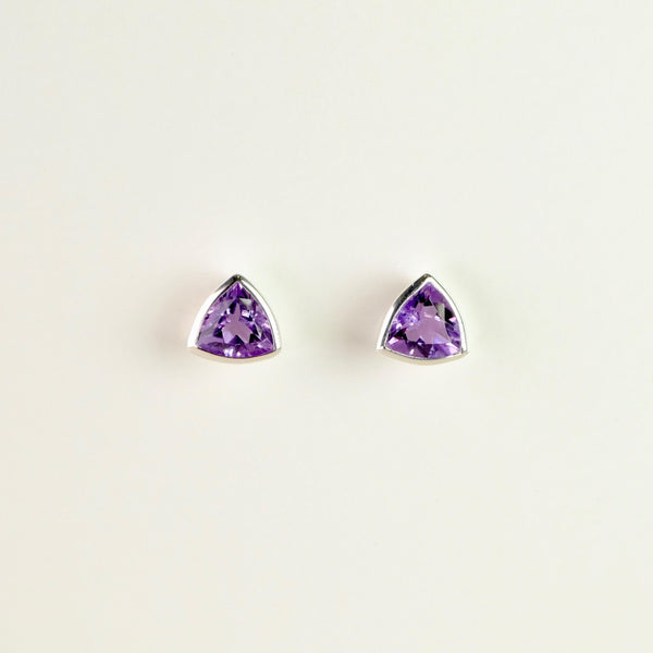 Silver and Amethyst Stud Earrings by JB Designs.