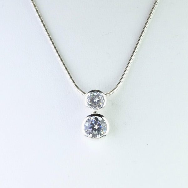 Sterling Silver and CZ Double Drop Pendant by JB Designs.