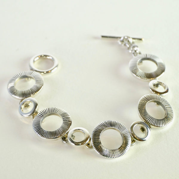 Heavy Solid Sterling Silver Circles Bracelet.