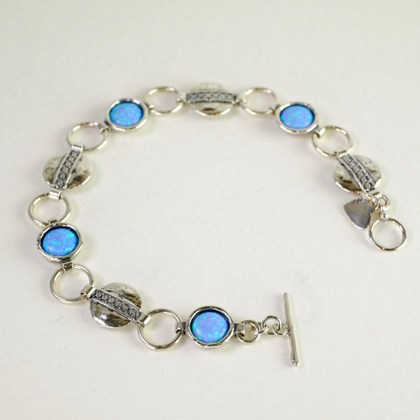 Silver Circles and Opal Bracelet.
