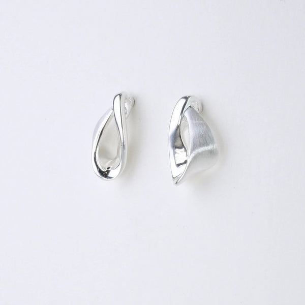 Satin and Polished Silver Stud Earrings by JB Designs.