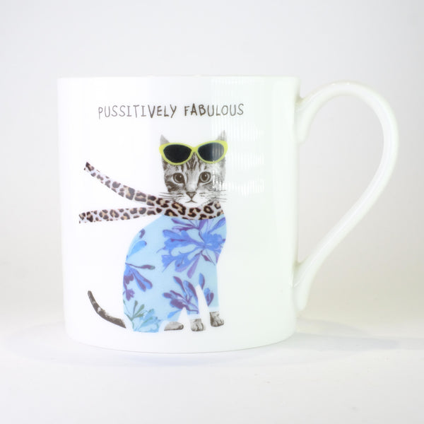 Bone China 'Pussitively Fabulous' Mug by Sally Scarffadi
