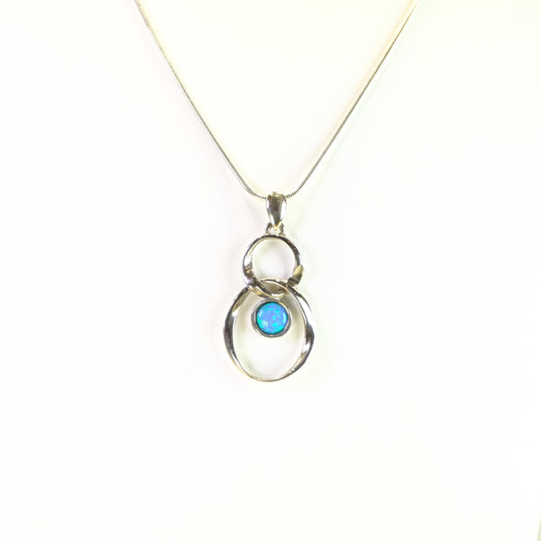 Silver and Opal Twist Pendant.