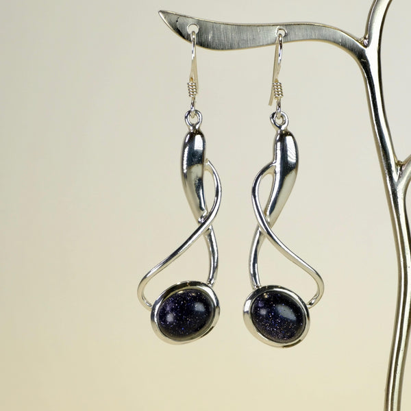 Silver and Blue Goldstone Drop Earrings.