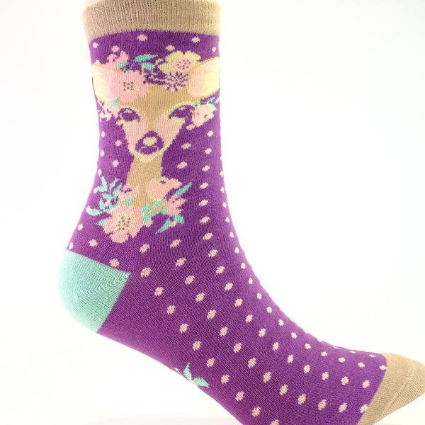 Floral Deer Ankle Socks.
