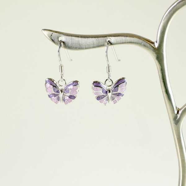 Silver and Purple Enamel Butterfly Design Earrings.