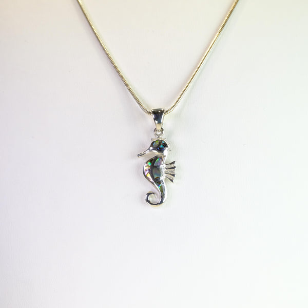 Silver and Abalone Shell Seahorse Pendant.