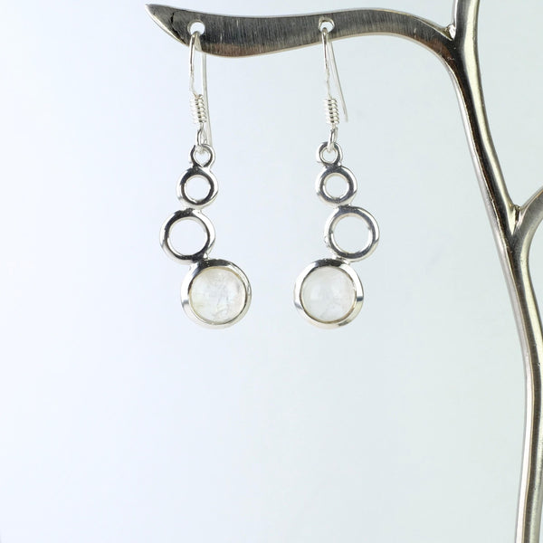 Silver and Rainbow Moonstone Earrings