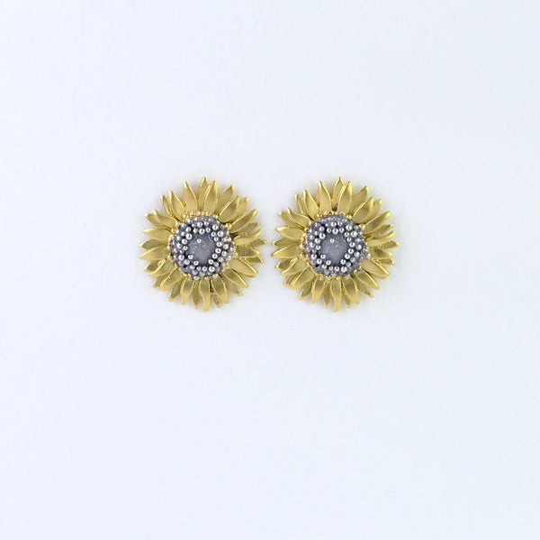 Handmade Silver Sunflower Stud Earrings by Sheena Mcmaster.