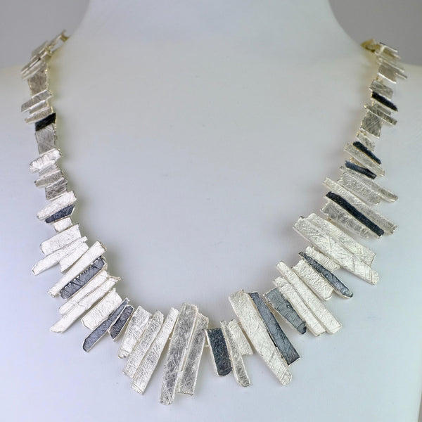 Satin and Oxidized Silver Organic Statement Necklace by JB Designs.