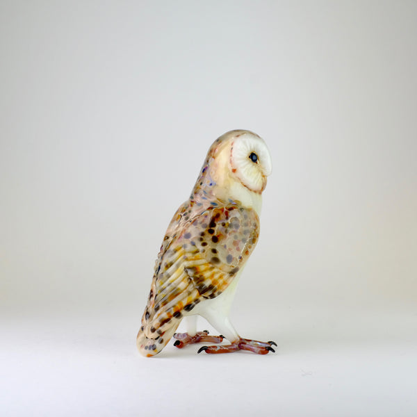 Handmade Glass Barn Owl by Elizabeth Welch.