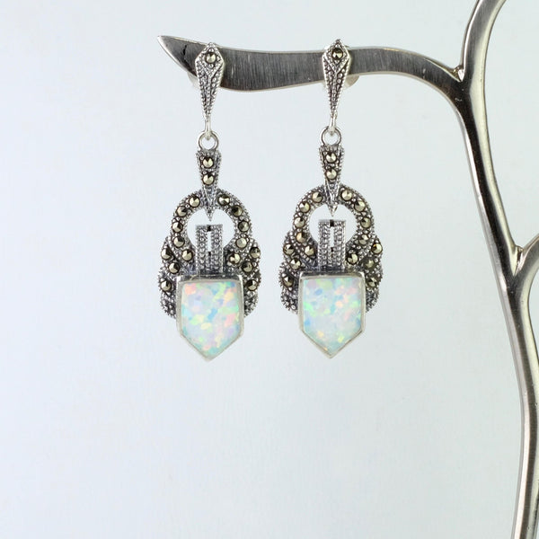 Art Deco Style Marcasite, Opal and Silver Drop Earrings.