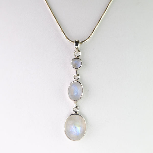 Silver and Rainbow Moonstone Triple Drop Pendant.