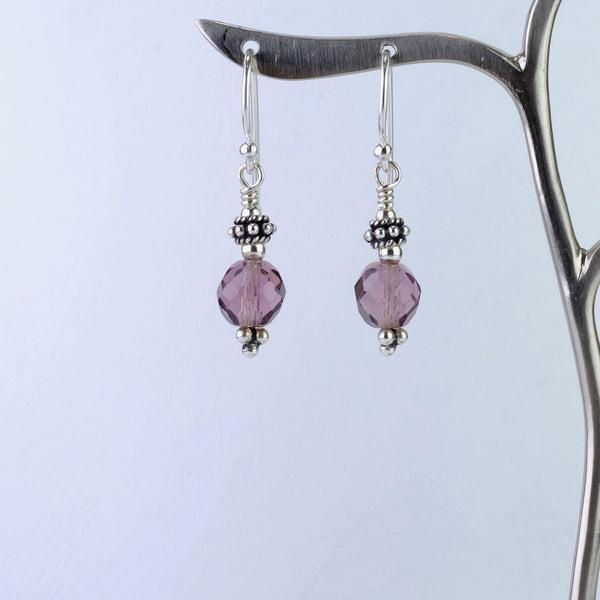 Silver and Vintage Glass Bead Drop Earrings.
